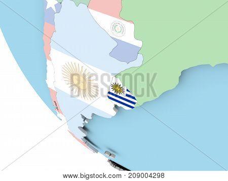 Uruguay With Flag On Globe