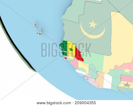 Senegal With Flag On Globe