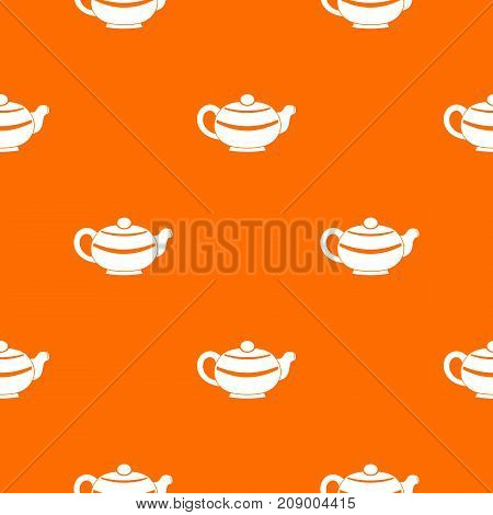 Chinese teapot pattern repeat seamless in orange color for any design. Vector geometric illustration