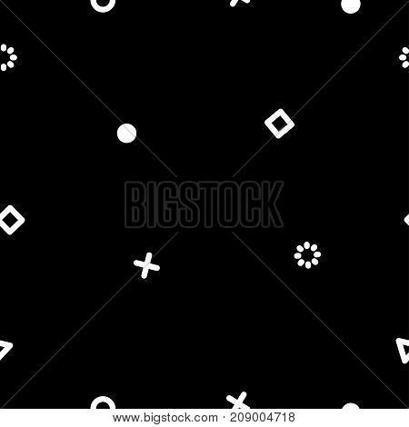modern hipster seamless geometric white and black pattern. - stock vector