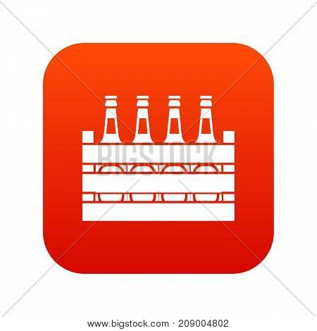 Beer wooden box icon digital red for any design isolated on white vector illustration