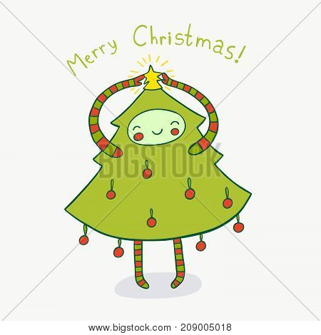 Cute Christmas tree adorned with a star. Cute holiday illustration.