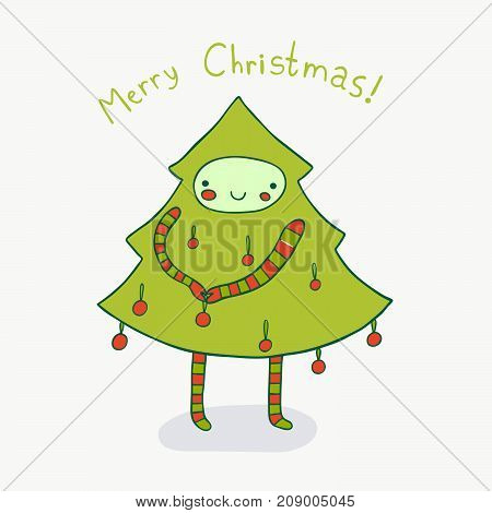 Pretty Christmas tree dresses up for the holiday. Cute holiday illustration.