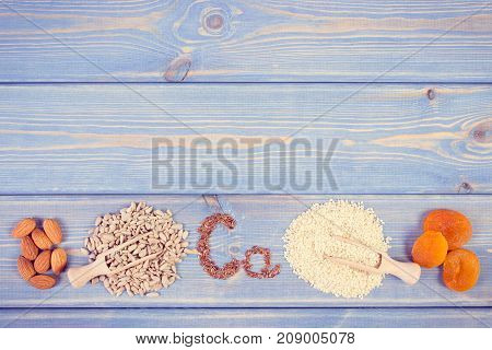 Vintage Photo, Products Containing Calcium And Dietary Fiber, Copy Space For Text On Boards