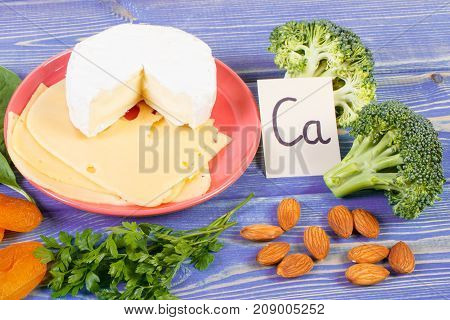 Products And Ingredients Containing Calcium And Dietary Fiber, Healthy Nutrition Concept