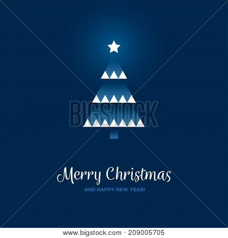 Creative Christmas and New Year greeting card or banner design with abstract geometrical xmas tree on dark blue background.