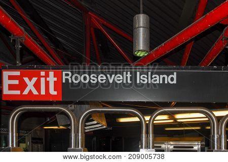 New York City - June 8, 2007: Roosevelt Island Subway Station exit in Manhattan New York City