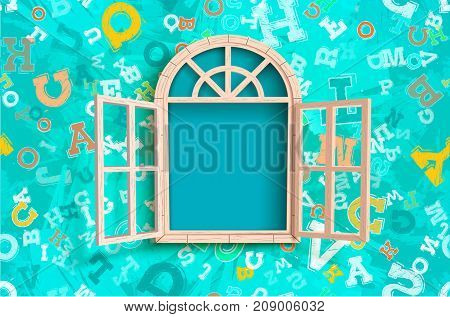 Vector illustration of opened window on turquoise letters background.