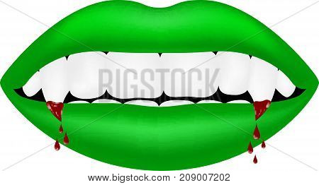 Vampire mouth in green design with bloody teeth on white background