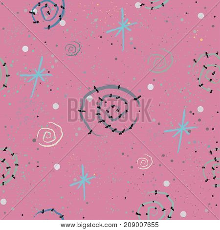 Cute seamless pattern with hand drawn spiral on pink