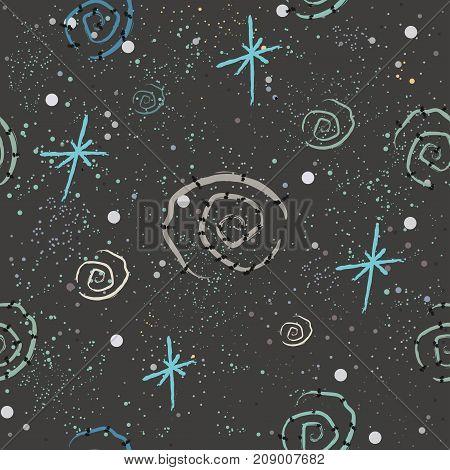 Cute seamless pattern with hand drawn spirals on dark background