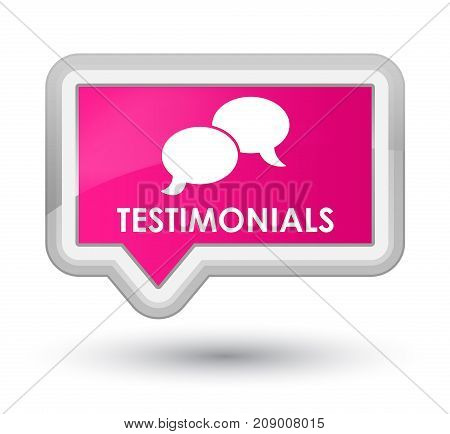 Testimonials (chat Icon) Prime Pink Banner Button
