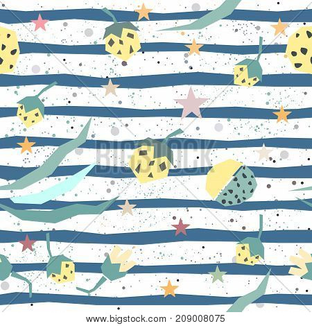 Cute seamless pattern with hand drawn plants. Vector Illustration