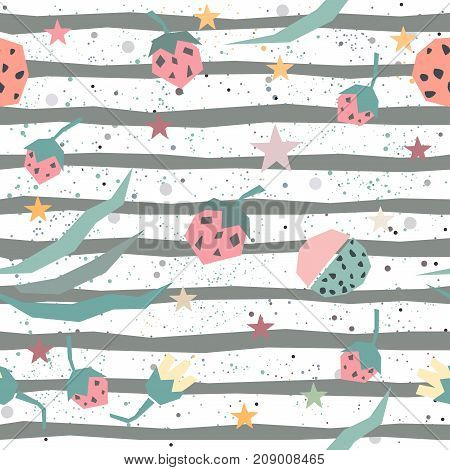 Cute seamless pattern with hand drawn plants