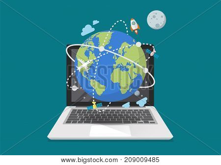 Global network connection from laptop. Vector illustration
