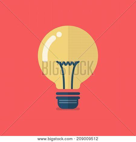 Lightbulb icon flat design. Vector illustration graphic design