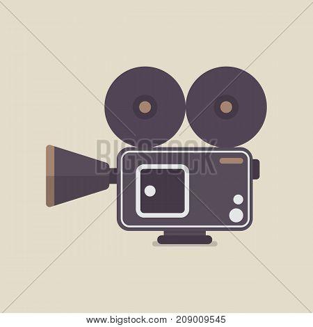 Retro Movie Camera. Flat style icon vector illustration