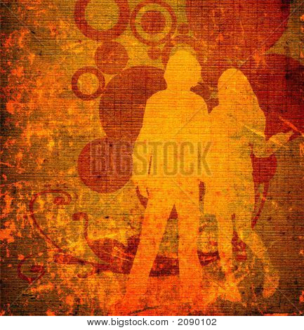 illustration of an urban scene with couple silhouettes poster