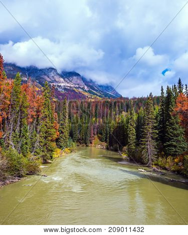 Autumn forests grow along the banks of the cold river. Heavy storm clouds over the Rocky Mountains of Canada. The concept of active tourism