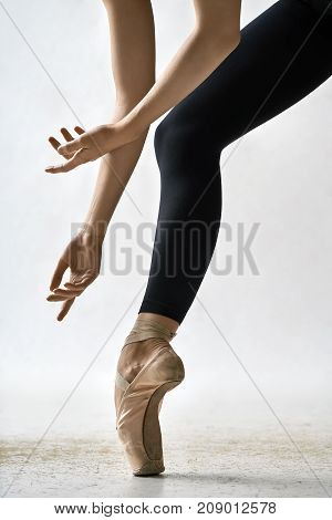 Attractive ballerina is posing in the studio on the light background. She stands on the toe and holds her arms near the leg. Girl wears black leggings and beige pointe shoes. Closeup. Vertical.