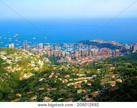 aerial view from village La Turbie to Principality Monaco Monte-Carlo port Hercule Prince Palace Mountains yachts boats skyscrapers Menton cote d'azur coast french riviera France