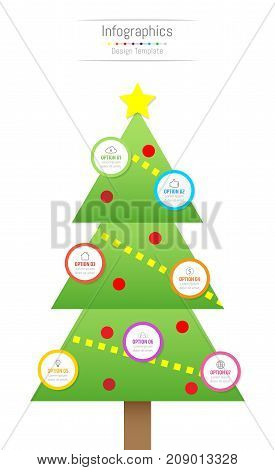 Infographic design elements for your business data with 7 options parts steps timelines or processes. Christmas tree concept Vector Illustration.