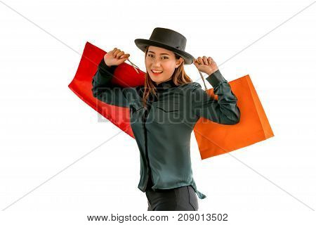 Woman With Shopping Bag. Isolated.
