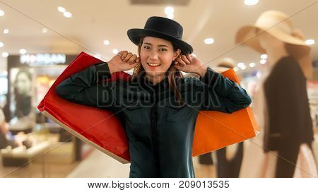 Woman With Shopping Bag In Shopping Mall