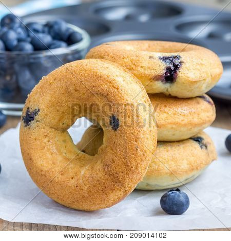 Freshly baked doughnuts with blueberries for breakfast square format