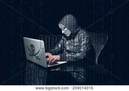 Masking Anonymous Hacking And Using Computer To Hack Passwords. Side Perspective
