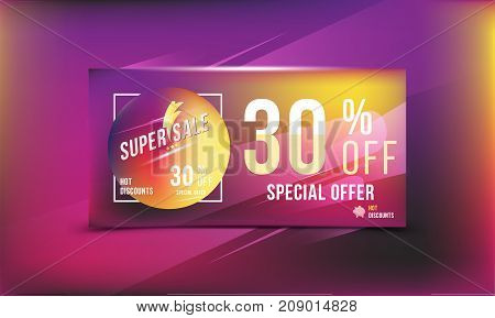 Super Sale 30 Discount Bright Rectangular Poster Format And Flyer. Template For Design Advertising A