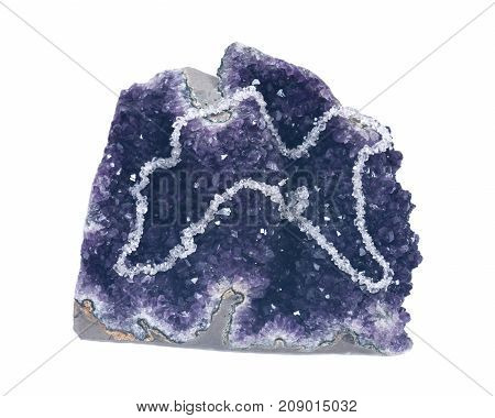 Clear Quartz Tumbled Chips Necklace presented on amethyst geode isolated on white background