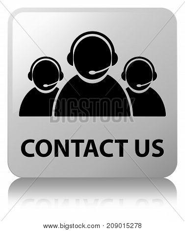 Contact Us (customer Care Team Icon) White Square Button