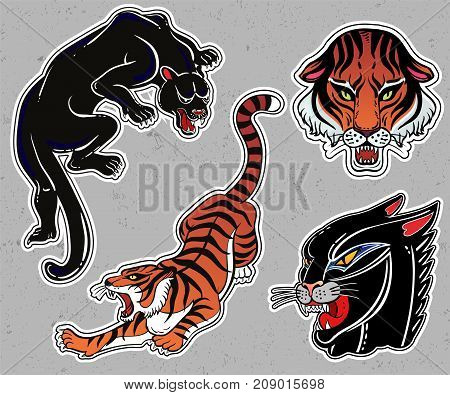 Set of wild Cat designs. Classic flash tattoo style patches or elements. Traditional stickers, comic pins. Pop art items. Vector collection, stikers kit. Tiger, Panther, Puma.