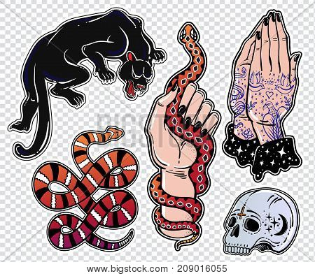 Set of hispanic, danger, latin romance style classic flash tattoo patches or elements. Set of traditional stickers, pins, in 90 s comic style. Pop art item. Fashionable vector collection, stikers kit.