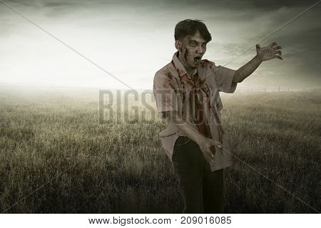 Scary Asian Zombie Man With Blood Walking