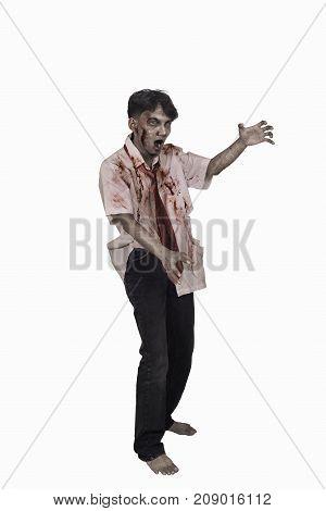 Portrait Of Horrible Asian Zombie Man Posing