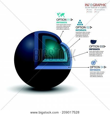 Vector 3D circle infographics set. Element infographic template for diagram graph presentation and chart. Business concept with options parts steps or processes. Abstract background.