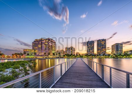 West Palm Beach, Florida, USA skyline on the Intracoasal Waterway.