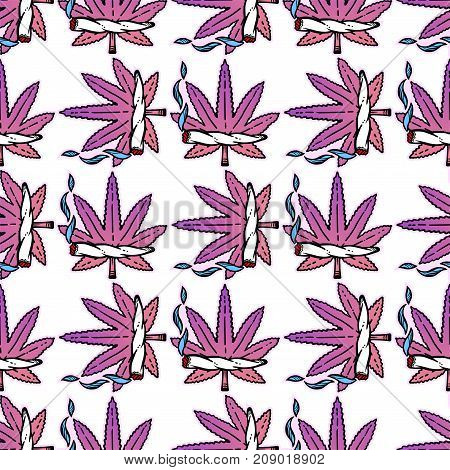 Cute girly ganja weed marijuana seamless vector pattern background in cartoon 90s party style. Joint and leaf ornament. For wallpaper, pattern fills, web page background, surface textures.