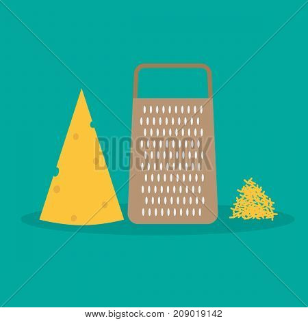 vector illustration of cheese grater and cheese flakes.food cooking