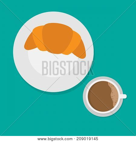 breakfast concept with croissant and coffee.morning food