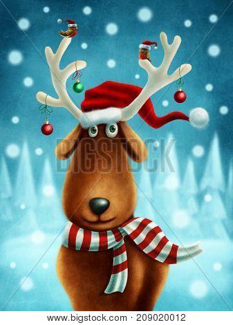 Illustration of a little reindeer