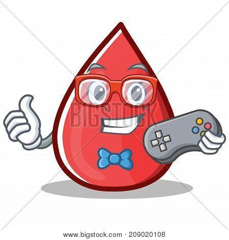 Gamer Blood Drop Cartoon Mascot Character Vector Illustration