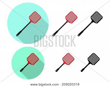 Set of Flyswatter icon in flat vector design