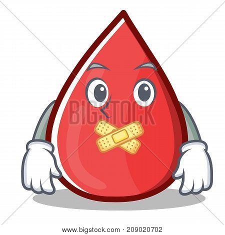 Silent Blood Drop Cartoon Mascot Character Vector Illustration