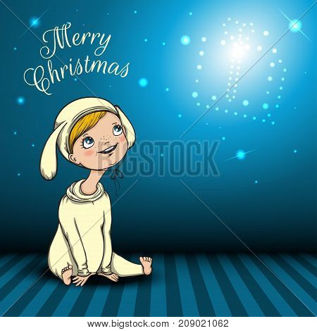 Merry Christmas blue background with character, kid, child, baby in rabbit costume has dreaming