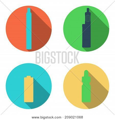 Rounded Vape icons set on a white background. Can be used for advertising vape shop, electronic cigarettes store.Vector Illustration.
