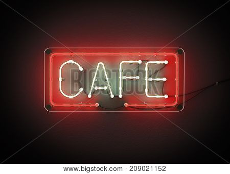 Cafe sign made from neon alphabet on a black background. 3D illustration