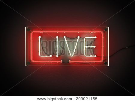 Live sign made from neon alphabet on a black background. 3D illustration